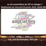 Mobilisation des associations du 10e arrondissement pour la sauvegarde de la vie associative