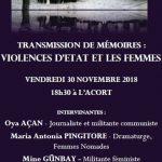 """Rencontre """"Violence d'état et les femmes: Transmission de mémoires"""""""